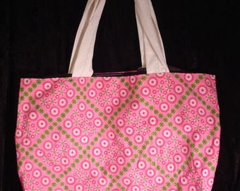 Handcrafted Large Beach Bag Pink Daiseys
