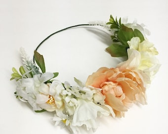 Vintage Ivory Peony Flower Crown Halo