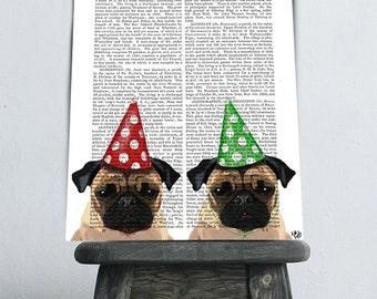 Pug Print Party Pugs Acrylic Art Original Painting Print Mixed Media wall art wall decor Wall Hanging