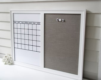 Dry Erase Calendar Organizer - 26.5 x 38.5 inch Magnetic Board Family Message Center - Bulletin Board with Handmade Frame and Fabric