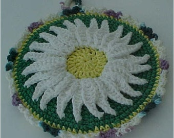 Crocheted Hot Mat Trivet Pot Holder Adorned with a Daisy 100% Cotton double Thickness