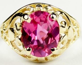 Pure Pink Topaz, 18KY Gold Ring, R004