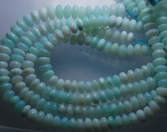 16'' Full Strand LARGE Blue Peruvian Opal Smooth Polished Rondelles, Size 13-11mm