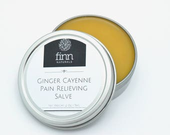 All Natural Organic Ginger and Cayenne Salve, Pain Relieving Sore Muscle Rub, Arthritis Cream, Muscle Aches, Capsaicin Unscented 2 oz or 4oz
