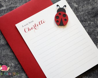 Ladybug Personalized Stationery · A2 FLAT · Red and Black ·  Coordinating Thank You Notes for Ladybug Baby Shower or Birthday Invitations
