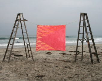 Organic Hand-Dyed Quilt- ANGLE geometric pink/orange, cotton, modern heirloom, square size
