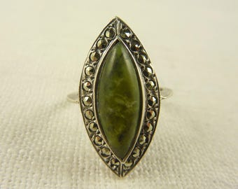 Size 5.5 Antique Deco Irish Sterling Connemara Marble and Marcasite Ring