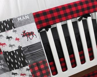 Moose Woodland Crib Bedding - Buffalo Plaid with Solid Black - Lumberjack Crib Bedding, Baby Boy Bedding, Nursery Bedding
