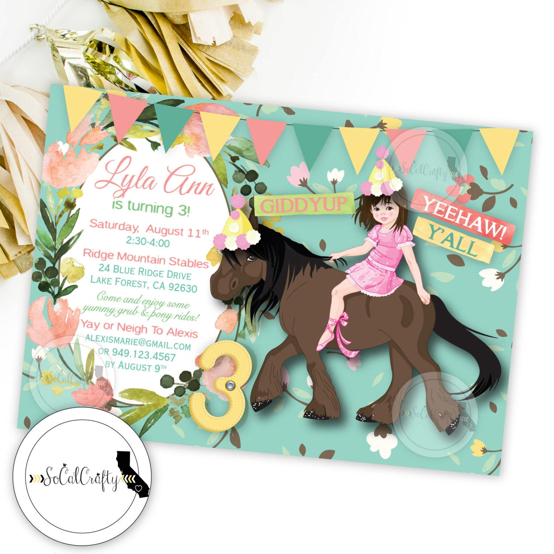 Cowgirl Birthday Party Invitation Horse Shabby Chic