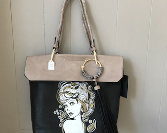 Hand Painted Faux Leather Bag