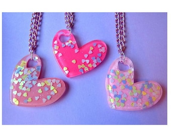 Iridescent Stars Little Heart Resin Necklace