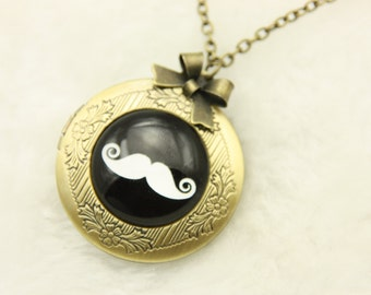 Mustache Necklace, Mustache locket, 2020m