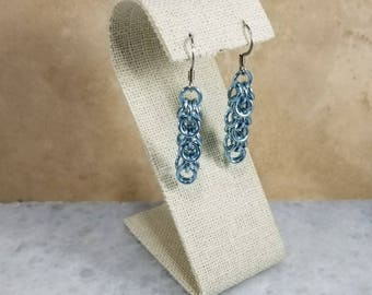 Chainmaille Shaggy Loops Earrings Sky Blue