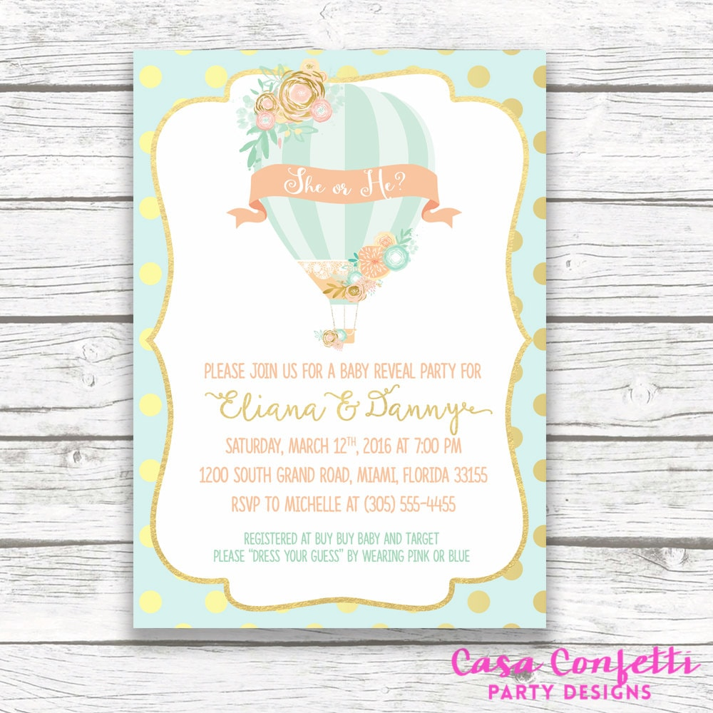 Hot Air Balloon Baby Gender Reveal Invitation Floral Gold