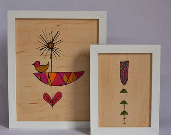Mod Flower Real Wood Art Print - New, Wood Art, Flowers, Print