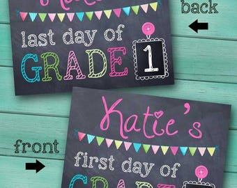 First and Last Day of Grade School Personalized CHALKBOARD - Pink FL0007