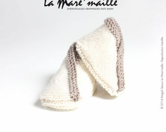 Slippers baby soft Merino Wool knit ecru and taupe knitted hand de La Mare' mesh