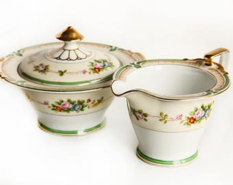 Noritake Japan Morimura Brothers Sugar Bowl & Creamer ~ Fine China ~ Gift for Her ~ Tea Party ~ Green and Pink Floral Design