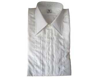 Men's Vintage White Scalloped Ruffle Tuxedo Shirt