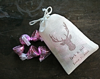Personalized wedding favor bags, set of 50 hand stamped cotton bags, woodland deer with names and date, rustic wedding, bridal shower favor