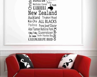 New zealand wall art etsy new zealand wall decals kiwi wall decals apartment decor housewarming gift subway gumiabroncs Choice Image