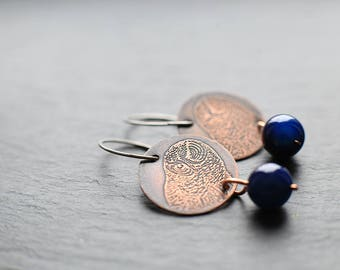 Dangle earrings with hypoallergenic titanium earwires: featuring etched owls on 22mm copper discs with 10mm blue agate beads