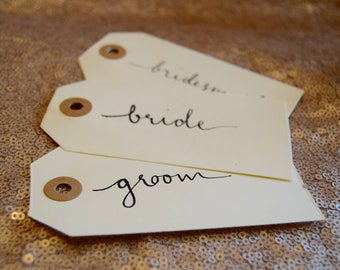 Hand Written Calligraphy Luggage Tags, Place Cards