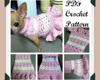 PDF Crochet Pattern - Littlest Bo Peep Crochet Dog Dress - INSTANT DOWNLOAD