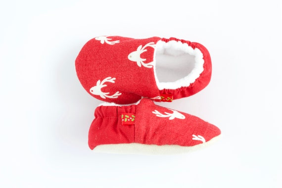 Red Christmas Stag shoes, unisex pre walkers and toddlers
