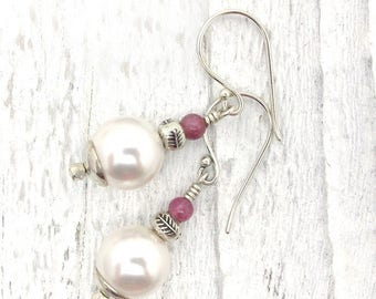 white pearl earrings, pink tourmaline,  gemstone earrings, sterling silver, Hill Tribe silver, white pearl earring, hostess gift, Christmas