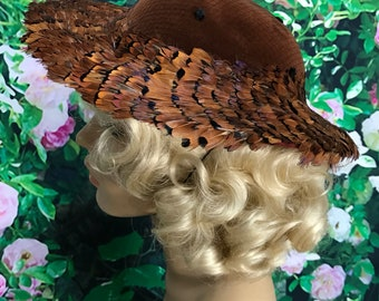 Whittall and Javis Brown Quail Feather Brimmed Hat 60s Velvet