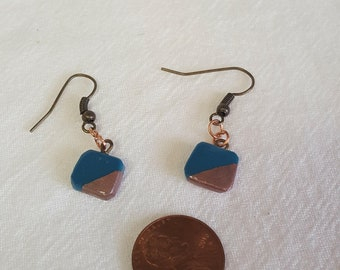 Polymer Clay Minimalistic Earrings Gold Rose and Copper accents Geometric