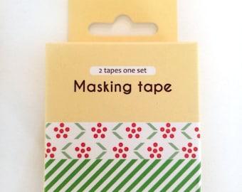 washi tape - adhesive tape - decorative masking tape - cardmaking tape - scrapbooking tape - gift wrapping - flowers and stripes washi tape