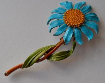 Blue Enamel Flower Brooch, Vintage Blue Enamel Spring Flower Brooch