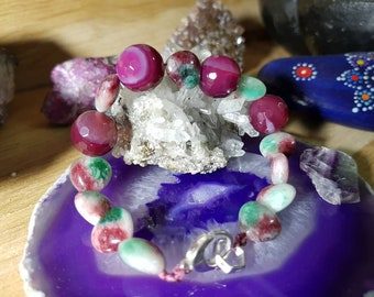Faceted Red agate bracelet and caramel multicolor Jade