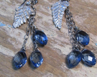Sterling Silver Leaf Earrings, Silver Fern Earrings, Blue Topaz Earrings, London Blue Topaz Earrings, Drop Earrings