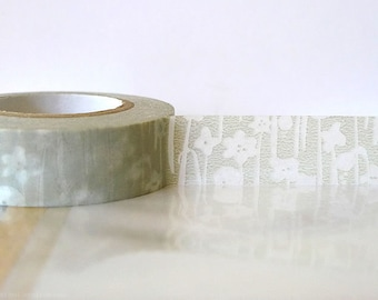 Japanesen Grey Washi Tape TAN Grey Masking Tape Small Flowers 15mm Gift Package, Cardmaking