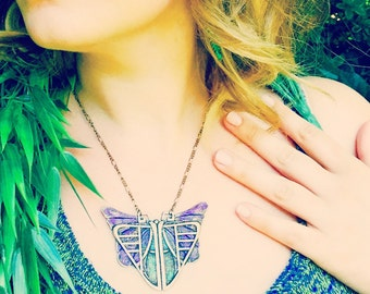 Art Deco Butterfly Pendant/Art Deco Jewelry/Butterfly Necklace/Statement Necklace/Art Nouveau/Artisan Necklace/Filigree Necklace/Edwardian