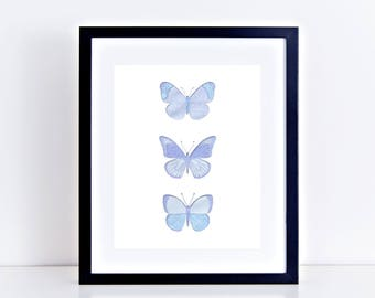 butterfly print fine art limited edition artwork - collage, art print, insect wall art, blue art, home decor - security envelope butterflies