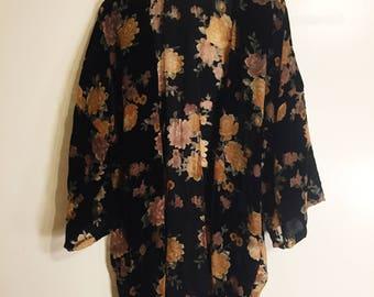 Black Burnout Velvet Kimono Womens / Chic Festival kimono / Boho Chic / Bohemian / Floral Velvet Kimono / Long Sleeve Kimono