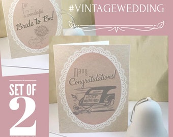 Wedding Congratulations & Bridal Shower Card - Retro Vintage Wedding, Gatsby Wedding, Gift for Bride and Groom, Art Deco , 1920s, Bride