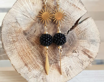 ELLA - Gold filled Long Earrings and needle-woven beads in the workshop