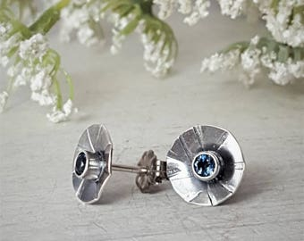 London Blue Topaz Posts Blue Topaz Studs Blue Gemstone Earrings