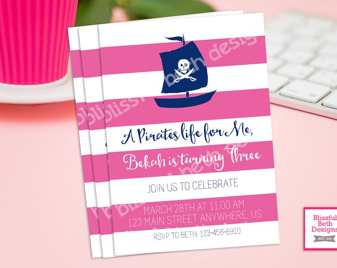 AHOY MATIE! Pink Pirate Birthday Invitation, Printable Girl Pirate Birthday Invitation, Personalized Pirate Invite, Girl Pirate, Ahoy Matie