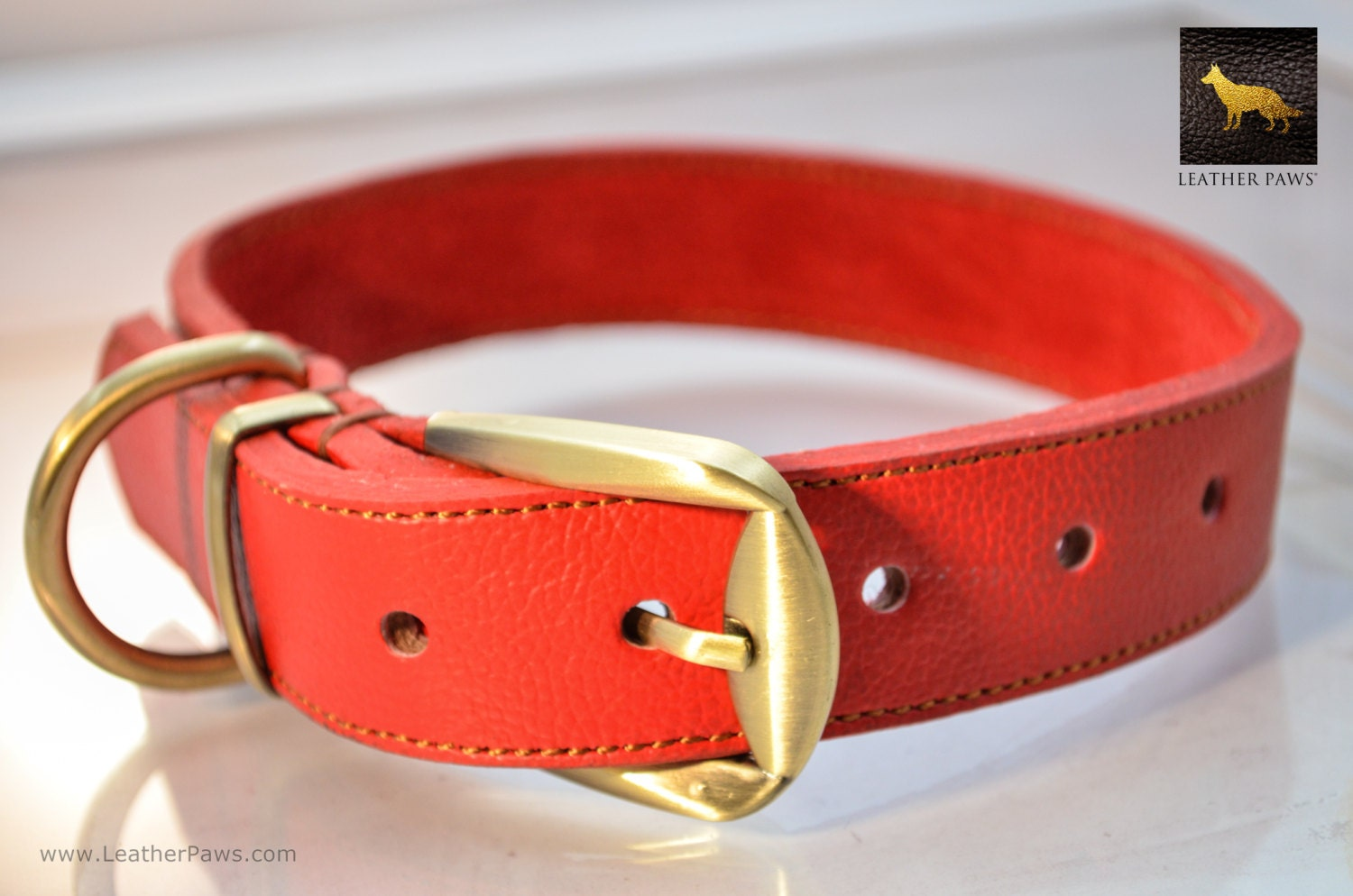 Leather Dog Collar Brass Color Clasp Real Genuine Leather Red