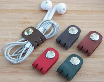 Cord organizer Cord wrap Leather Cable organizer Earphone holder leather Cord holder Headphone holder leather Cord keeper leather cord wrap