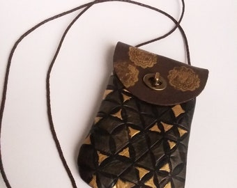 Leather Cross Body Cell Phone Pouch/Boho Cross Body Pouch/Long Strap Pouch/