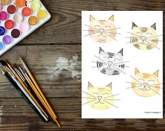 Instant download, original watercolor, cat face illustration