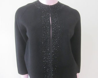 1960s Black Wool Knit Suit with Black Glass Beads, Size 8