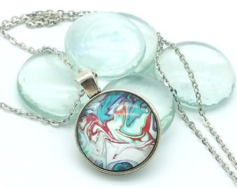 Painted Glass Cabachon Pendant  Red White and Teal  Wearable Art Layering Necklace 2018 Trend Funky